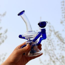 Popular Glass Dab Rig Oil Rig Bong Water Pipe Bend 20CM Height Recycler Bong Percolator Pipe Heady Bubbler