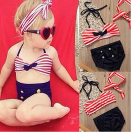 INS baby swimwear Stripe Bowknot girls swimsuits Cute Summer Children 3pcs swimming suits bikini kids swiim C3106