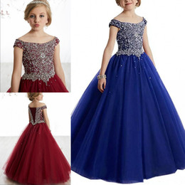 Dorable Beads Sequins Girls Pageant Dresses 2019 Crystals Girls Communion Dress Ball Gown Kids Formal Wear Flower Girls Dresses for Weddings