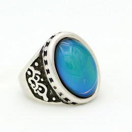 Beautiful Vintage Color Change Ring Antique Silver Plated Mood Ring with Free Gift Size 7 8 9 MJ-RS051