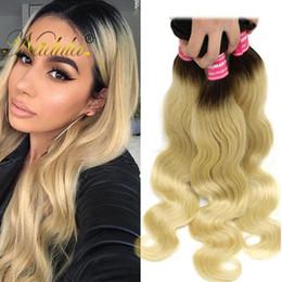 Nadula Peruvian Body Wave Virgin Human Hair Extensions T1B 613 Blonde 3 Bundles Ombre Blonde Human Hair Bundles Human Hair Weave Wholesale