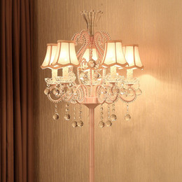 Modern Fabric Crystal Princess Bedroom Floor Lamps Fashion Romantic Living Room Floor Light Study Room Floor Lighting Fixture