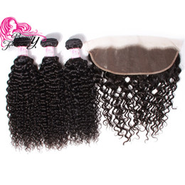 Beauty Forever Brazilian Hair Curly Weave 3 Bundles With 13*4 Lace Frontal 4Pcs 100% Human Hair Extension Peruvian Virgin Kinky Curly Hair