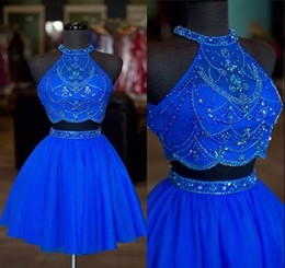 Blue Beaded Crystals Halter Neck Two Pieces Homecoming Dresses Rhinestones Zipper Up Formal Party Gowns A line Mini Short Cocktail Dresses