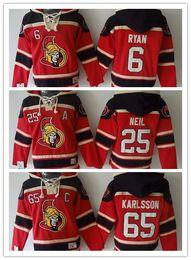 Ottawa Senators Hockey Men Jerseys 65 Erik Karlsson 25 Chris Neil 6 Bobby Ryan Hockey Hoodie Hooded Sweatshirt Jackets Jersey