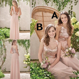 New Rose Gold Bridesmaid Dresses A Line Spaghetti Backless Sequins Chiffon Cheap Long Beach Wedding Gust Dress Maid of Honor Gowns BM0153