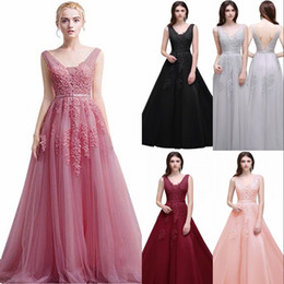 2019 New A Line Backless Appliques Burgundy Red Black Long Evening Dresses Elegant Party Prom Dresses Robe De Soiree CPS304