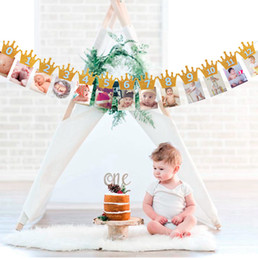 whoesales Baby First Birthday Banner Flag Monthly ONE Year Bunting Garland queen kind of Birthday Party Decorations Kids free shipping 2018