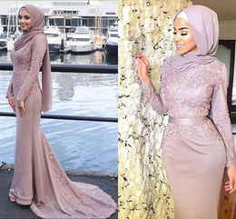 Dusty Pink Satin Mermaid Muslim Evening Dresses Lace Appliques Long Sleeves Prom Dresses With Belt Sweep Train African Formal Party Gowns