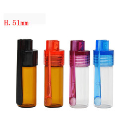 Wholesale Acrylic Glass Snuff Bullet Rocket Snorter Glass Spoon Pill Box Mixed Color easy to carry