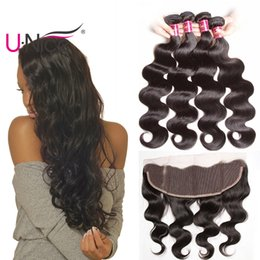 UNice Hair Virgin Brazilian Straight 4 Bundles With Frontal Ear to Ear Hair Weaves With Body Wave Lace Frontals Remy Human Hair Cheap
