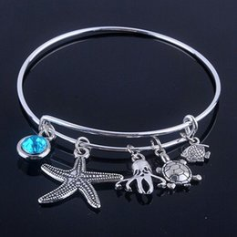 New design Adjustable Expandable Wire bracelets bangles diameter 65mm silver plated sea life and blue birthday stone bracelets