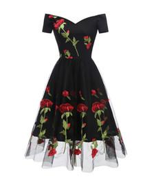 Rose Embroidery Vintage Dress V Neck Short Sleeves Wrap High Waist Swing Dress 50s 60s Retro Vestidos Black Mesh Party Dress DK9027CL