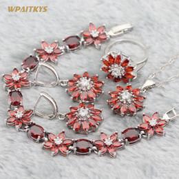 Red Wedding Jewelry Sets - Wholesale AAA Zircon Flower Stone Silver Plated Pendant Drop Earrings Ring Bracelet For Women Rings Size 6-10