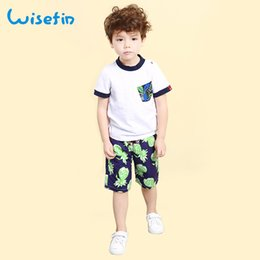 Wisefin Children Boys 2pcs Clothing Kids T-shirt + Shorts Set Beachwear Casual Boys Tee Pants Suit Print Loose Trouser Boys Sets