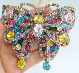 Gorgeous Large Butterfly Brooch Pin w Multicolor Rhinestone Crystals EE04921C6