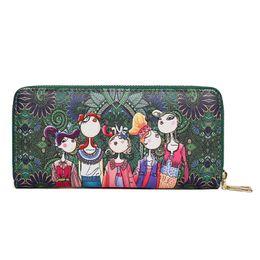 2018 new European and American fashion big Wallet Original forest series purse women long zipper handbag