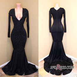 2018 Real Photos Black African Long Sleeves Formal Evening Dresses Deep V Neck Bead Sequins Shiny Prom Gowns BA8203