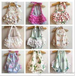Mix 5 Colors Ins Baby Girls Cartoon Floral Printed Rompers Kids Infant Backless Cake suspenders onesies Romper Toddler Bodysuits Beach wear