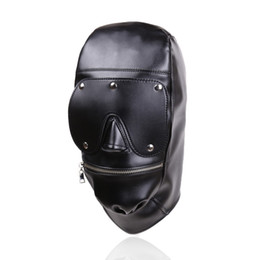 New Design Bondage Gear Hood Muzzle Harness with Detachable Eye Pad Black Leather Mask with Zipper at Mouth Fetish Sex Toy Gimp B0306037