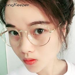 ddb280b39e LongKeeper Women Round Glasses Frame Vintage Clear Lens Spectacles Black  Gold Silver Metal Frame Retro Men Optic Eyewear PST002