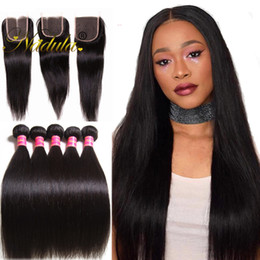 Nadula Hair Bundles With Closure Brazilian Virgin Hair Extensions 3Bundles With Lace Closure Straight Remy Human Hair Weave Wholesale Cheap
