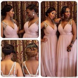Cheap Blush Deep V Neck African Bridesmaid Dresses Long Plus Size Crystal Chiffon Formal Gowns Criss Cross Straps