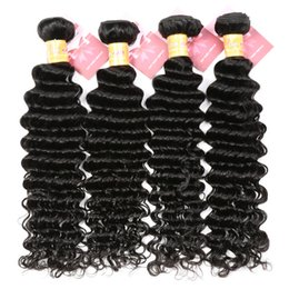 8A Deep Wave Brazilian Hair Bundles Wet and Wavy Virgin Remy Human Hair Curly Weave Natural Black Can be Dyed and Bleached