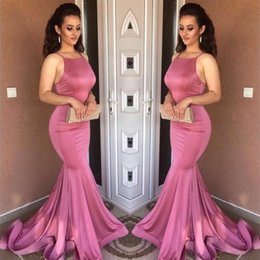 2018 Vestidos Mermaid Evening Dresses Simple Halter Backless Formal Gowns Sweep Train Formal Prom Party Gowns Custom Cheap BA7487