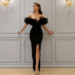 2018 Sexy Mermaid Evening Dresses Boat Off-Shoulder with Lace Appliques Sleeve Cascading Ruffles Sheer Evening Gowns Party Dresses