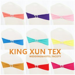 Lycra Band Spandex Chair Sash With Butterfly Buckle For Banquet Wedding Chair Cover Decoration