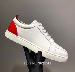 Low-Cut cl andgz White Red Lace-up Rivet Leisure Shoes Fashion Red bottom  For Man Sneakers leather casual Flat Loafers 2018 Male 4accd0f1875e