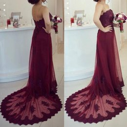 Country Burgundy Bridesmaid Dresses Long Formal Strapless Open Back Lace Appliques Tulle Formal Dress Maid of Honor Gowns for Wedding Party