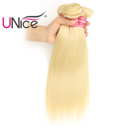 UNice Hair 3 Bundles 613 Brazilian Straight Blonde Virgin Hair Wholesale 100% Human Hair Extensions Indian Peruvian Cheap 8A Nice Bulk