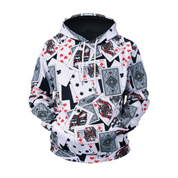 2018 autumn new men's loose sweatshirt creative poker printing men's hooded sweater youth casual street sweatshirt