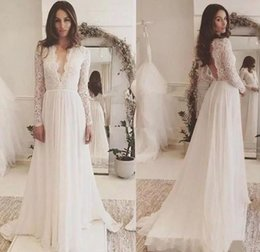 Bohemian Lace Top Long Sleeves Wedding Dresses Deep V Neck Boho Beach Wedding Gowns Backless Country Bride Dress Custom Vestidos De Novia