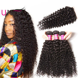 UNice Hair Curly Wave Brazilian Virgin Human Hair 3 Bundles With Closure Human Hair Extensions 4*4 Lace Closure Free Part Wholesale Bulk