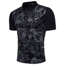 Men's POLO shirt fashionable floral print comfortable and breathable short sleeves