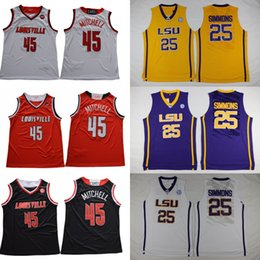 Louisville Cardinals #45 Donovan Mitchell 15 Nikola Jokic LSU Tigers 25 Ben Simmons white navy orange red College Basketball Jerseys