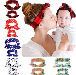 2018 best selling printed mother and child suit fashion parent-child rabbit ear hair band popular baby hair band Hair Accessories