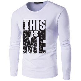 Autumn Men T Shirt Cotton Long sleeve Young Style Letter Printed Slim Fit Men Clothes Fashion casual Wholesale dress