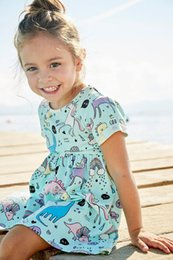 Retail Baby Girls Cartoon Unicorn Printed Cotton Dress Halloween cosplay Summer Kids Short Sleeve Pleated princess dresses Children Cloth