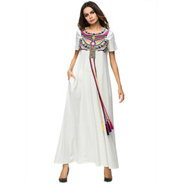 3187119 Hot Sell Middle East Women Folk Nation Muslim Embroidered Robe 2018 Summer Wear Korean Style Musulman Women's Dress Mujer Vestidos