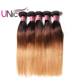 UNice Hair T1B 4 27 Ombre Straight Bundles Remy Human Hair Weaves Indian 4 Bundles Human Hair Extensions Bulk Wholesale Nice Silk Straight