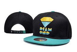 Fashion Street POP Diamond Snapback Hats Cap Embroidery Solid Flat Brim Hat Baseball Cap