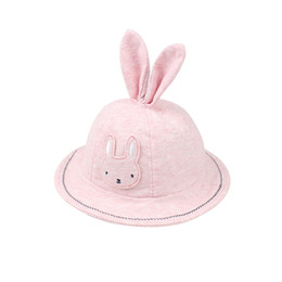 2018 hot saleCute Rabbit Baby For Girls Cotton Panama Hat With Rabbit Ears Cartoon Baby Girls Sun Cap Summer Girls Clothings free shipping