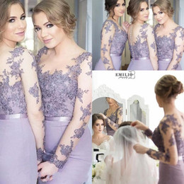 2019 Lilac Bridesmaid Dresses Mermaid Sheer Neck Long Sleeves Sweep Train Bridesmaid Gowns With Lace Applique Illusion Back Formal Dresses