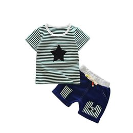 Fashion 2018 Children Boys Girls Tracksuits Baby Striped T-shirt Short Pants 2Pcs sets Summer Infant Star Cotton Clothing Sets
