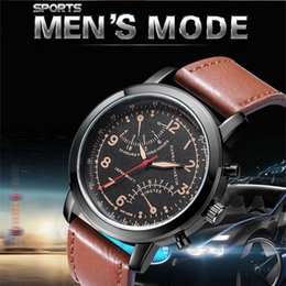 US shipping Men's watch Retro Design Leather Band Analog Alloy Quartz Wristwatches men clock drop shipping