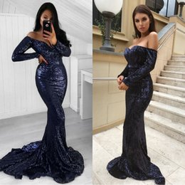 2018 Dark Navy V Neck Evening Dresses Sequins Long Sleeves Sweep Train Custom Made Prom Dress